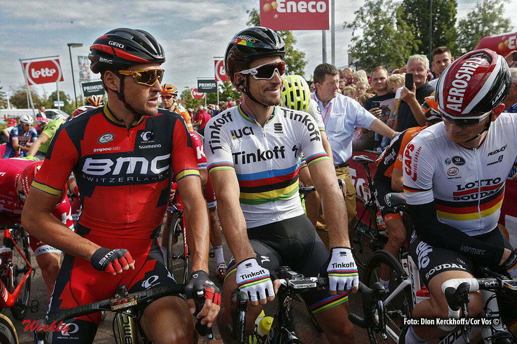 Bolsward - Netherlands - wielrennen - cycling - radsport - cyclisme - Greg Van Avermaet (Belgium / BMC Racing Team) - Peter Sagan (Slowakia / Team Tinkoff - Tinkov) pictured during Eneco Tour stage -1 - UCI World Tour) from Bolsward to Bolsward - photo Dion Kerckhoffs/Cor Vos © 2016 motard Jos Verschuur