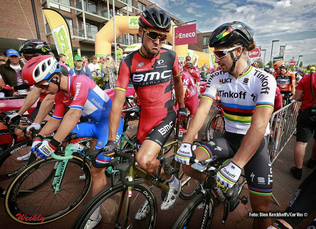 Bolsward - Netherlands - wielrennen - cycling - radsport - cyclisme - Dylan Groenewegen (Netherlands / Team LottoNL - Jumbo) - Greg Van Avermaet (Belgium / BMC Racing Team) - Peter Sagan (Slowakia / Team Tinkoff - Tinkov) pictured during Eneco Tour stage -1 - UCI World Tour) from Bolsward to Bolsward - photo Dion Kerckhoffs/Cor Vos © 2016 motard Jos Verschuur