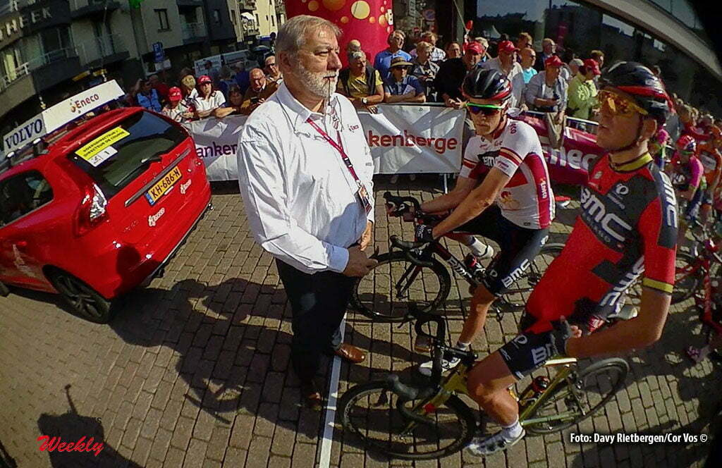 Ardooie - Belgium - wielrennen - cycling - radsport - cyclisme - race director Rob Discart with Rohan Dennis (Australia / BMC Racing Team) - Greg Van Avermaet (Belgium / BMC Racing Team) pictured during Eneco Tour stage -3 - UCI World Tour) from Blankenberge to Ardooie - photo Dion Kerckhoffs/Cor Vos © 2016 motard Kenny Verfaillie *****low res just for internet - still from Shimano Sportscam