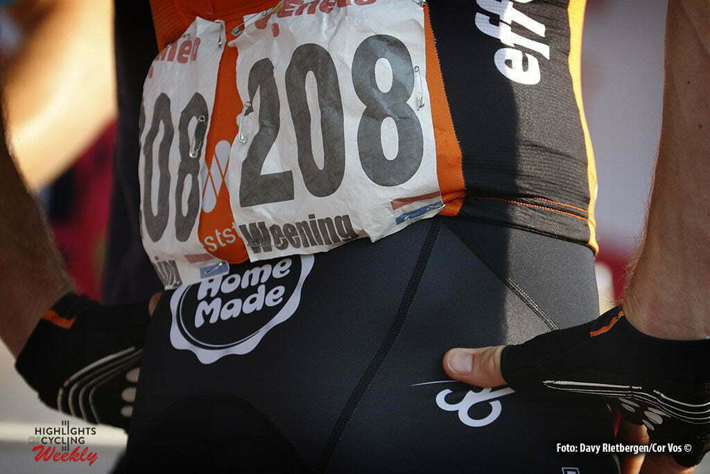 Ardooie - Belgium - wielrennen - cycling - radsport - cyclisme - illustration - sfeer - illustratie bib/bacjnumber Pieter Weening (Netherlands / Roompot - Oranje Peloton) pictured during Eneco Tour stage -3 - UCI World Tour) from Blankenberge to Ardooie - photo Dion Kerckhoffs/Cor Vos © 2016 motard Kenny Verfaillie