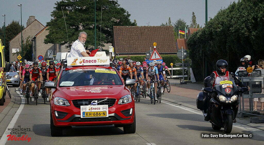 Sint Pieters Leeuw - Belgium - wielrennen - cycling - radsport - cyclisme - peace director Rob Discart start pictured during Eneco Tour stage -4 - UCI World Tour) from Aalter to Sint Pieters Leeuw - photo Davy Rietbergen/Cor Vos © 2016 motard Kenny Verfaillie