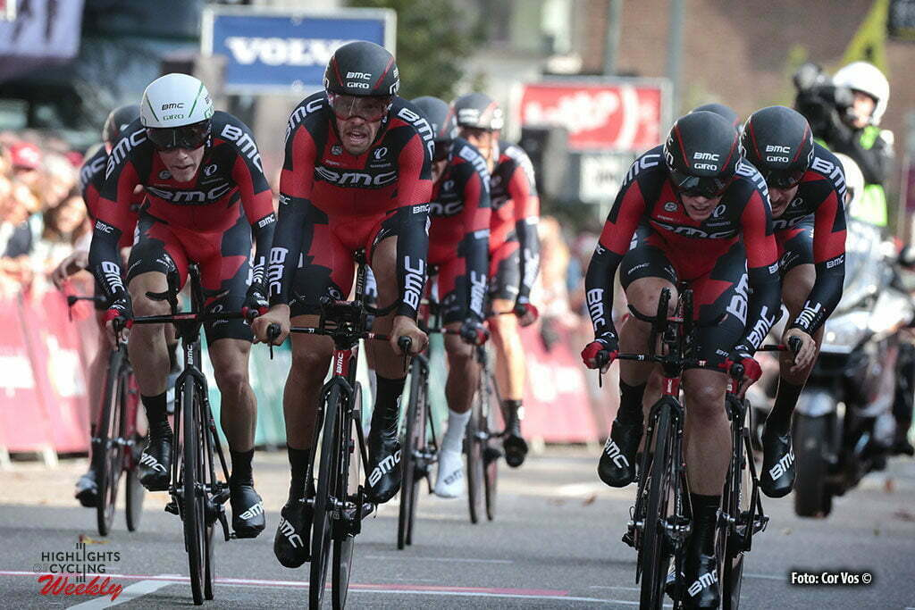 Sittard-Geleen - Netherlands - wielrennen - cycling - radsport - cyclisme - Rohan Dennis(white helmet left) - Daniel Oss - team BMC Racing Team pictured during Eneco Tour stage -5 - UCI World Tour) from Sittard- Sittard-Geleen to Sittard-Geleen - TTT Team Time Trial - photo Davy Rietbergen/Miwa iijima//Cor Vos © 2016