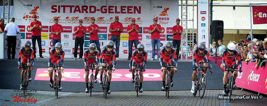 Sittard-Geleen - Netherlands - wielrennen - cycling - radsport - cyclisme - team BMC Racing right wit white helmet Rohan Dennis pictured during Eneco Tour stage -5 - UCI World Tour) from Sittard- Sittard-Geleen to Sittard-Geleen - TTT Team Time Trial - photo Davy Rietbergen/Miwa iijima//Cor Vos © 2016