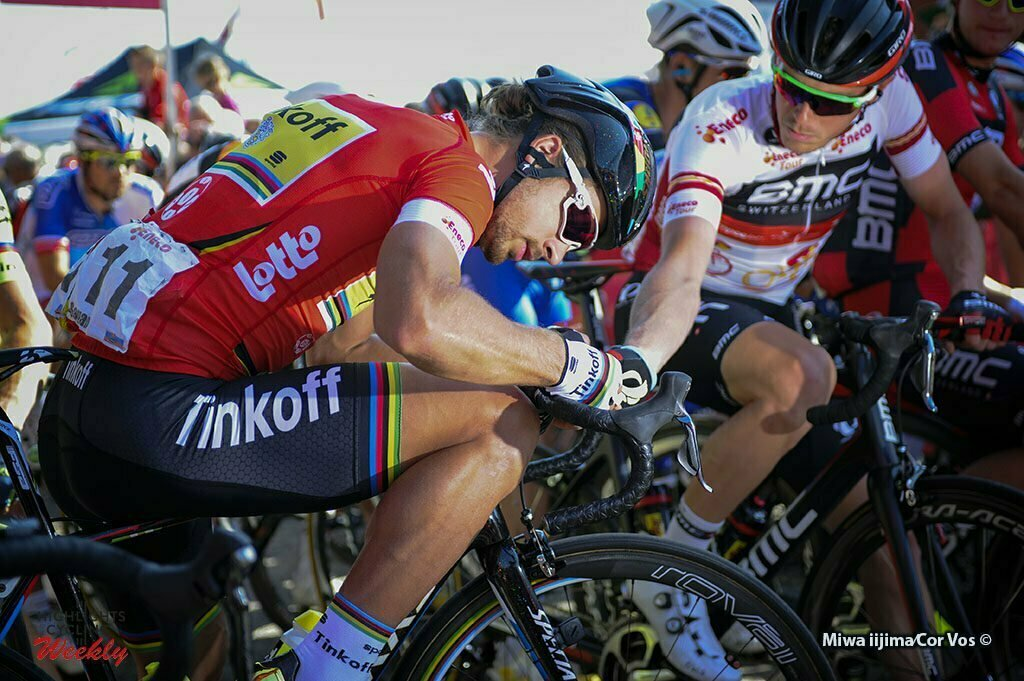 Lanaken - Belgium - wielrennen - cycling - radsport - cyclisme - illustration - sfeer - illustratie Peter Sagan (Slowakia / Team Tinkoff - Tinkov) - Rohan Dennis (Australia / BMC Racing Team) pictured during Eneco Tour stage -6 - UCI World Tour) from Riemst to Lanaken - photo Miwa iijima/Cor Vos © 2016