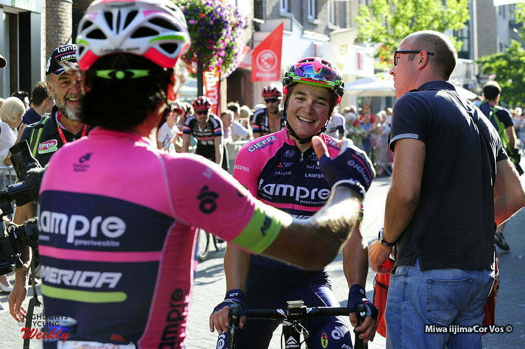 Lanaken - Belgium - wielrennen - cycling - radsport - cyclisme - Yukiya Arashiro (Japon / Team Lampre - Merida) - Luka Pibernik (Slowenia / Team Lampre - Merida) pictured during Eneco Tour stage -6 - UCI World Tour) from Riemst to Lanaken - photo Miwa iijima/Cor Vos © 2016