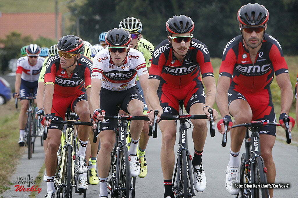 Geraardsbergen - Belgium - wielrennen - cycling - radsport - cyclisme - Quinziato Manuel (Italie / BMC Racing Team) - Phinney Taylor (USA / BMC Racing Team) - Dennis Rohan (Australia / BMC Racing Team) - Greg Van Avermaet (Belgium / BMC Racing Team) pictured during Eneco Tour stage -7 - UCI World Tour) from Bornem to Geraardsbergen - photo Dion Kerckhoffs/Cor Vos © 2016