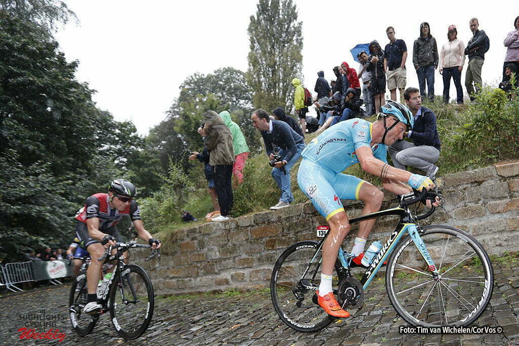Geraardsbergen - Belgium - wielrennen - cycling - radsport - cyclisme - Lars Boom (Netherlands / Team Astana) - Edvald Boasson Hagen (Norway / Team Dimension Data) pictured during Eneco Tour stage -7 - UCI World Tour) from Bornem to Geraardsbergen - photo Tim van Wichelen/Cor Vos © 2016