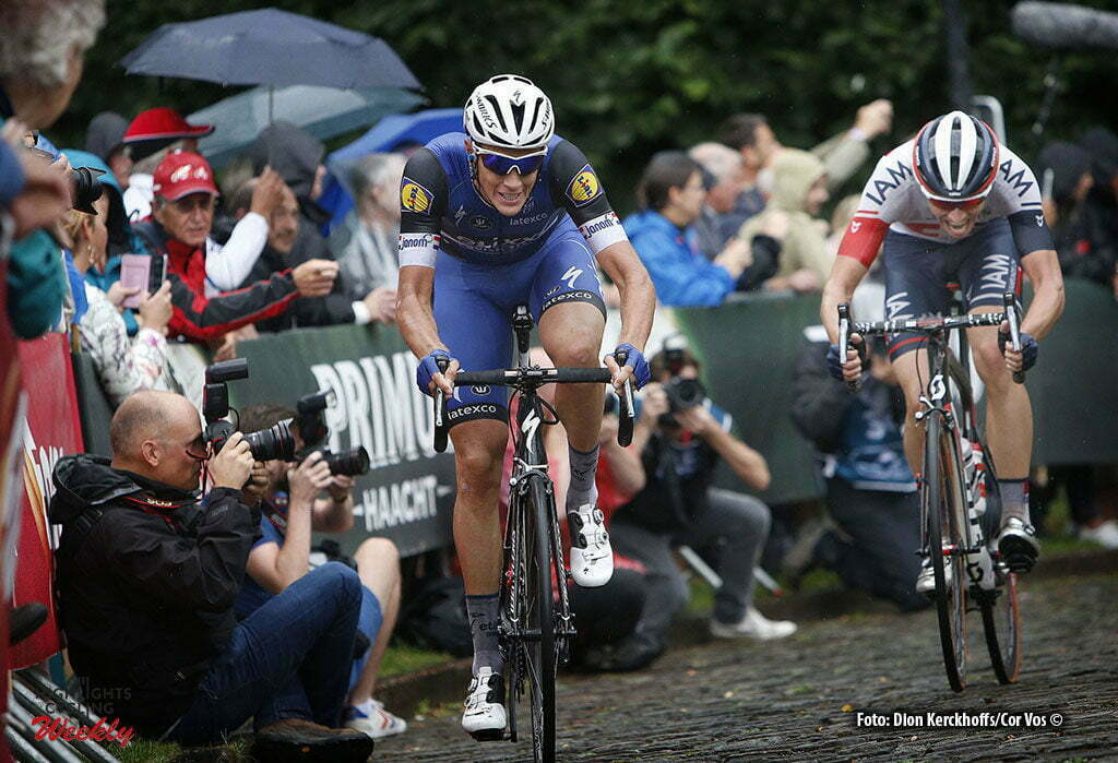 Geraardsbergen - Belgium - wielrennen - cycling - radsport - cyclisme - Niki Terpstra (Netherlands / Team Etixx - Quick Step) - Oliver Naesen (Belgium / IAM Cycling) pictured during Eneco Tour stage -7 - UCI World Tour) from Bornem to Geraardsbergen - photo Dion Kerckhoffs/Cor Vos © 2016