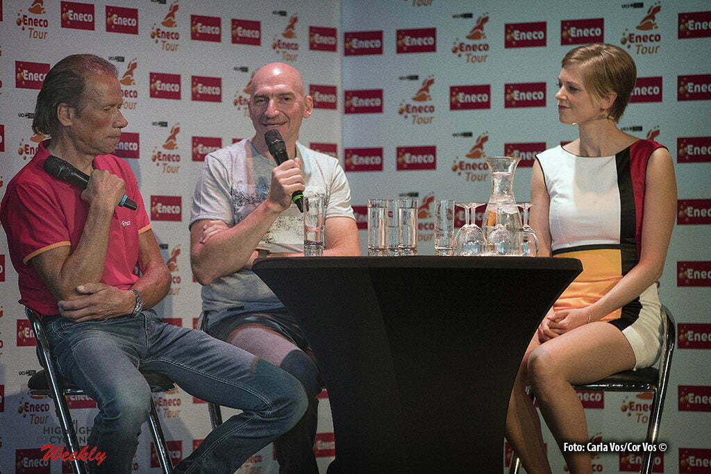 's Hertogenbosch - Netherlands - wielrennen - cycling - radsport - cyclisme - Henk Lubberding Ludo Dierckxsens and miss Felice Dekens pictured during Eneco Tour presse-conference - UCI World Tour) in 's Hertogenbosch, Netherlands - photo Carla Vos/Cor Vos © 2016