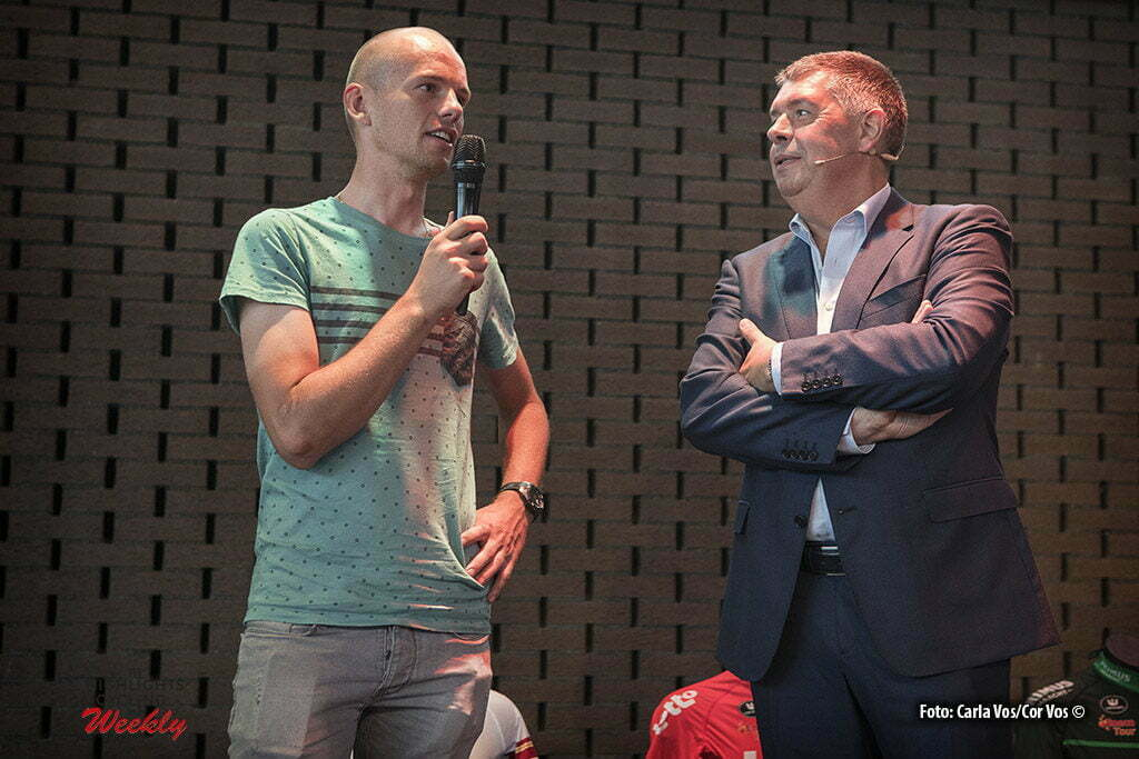 's Hertogenbosch - Netherlands - wielrennen - cycling - radsport - cyclisme - illustration - sfeer - illustratie Jean Paul van Poppel - Ferdi van den Haute - Jesper Asselman (Netherlands / Roompot - Oranje Peloton) and moderator Carl Berteele pictured during Eneco Tour presse-conference - UCI World Tour) in 's Hertogenbosch, Netherlands - photo Carla Vos/Cor Vos © 2016