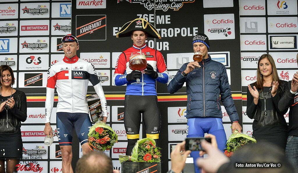 Doornik 02/09/2016, eurometropole tour van Poperinge tot Doornik op foto: winnaar Dylan Groenewegen met Oliver Naesen en Tom Boonen (picture by Florian Van Eenoo/photonews)