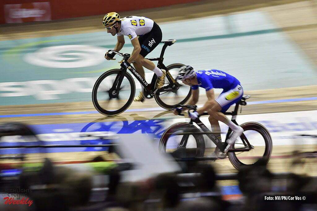 Gent - Belgium - wielrennen - cycling - radsport - cyclisme - Elia Viviani (ITA) wins from Moreno De Pauw (BEL) pictured during the last and final day of the 76th Lotto Six Days Vlaanderen on November 15, 2016 at Het Kuipke velodrome in Gent, Belgium - photo NV/PN/Cor Vos © 2016