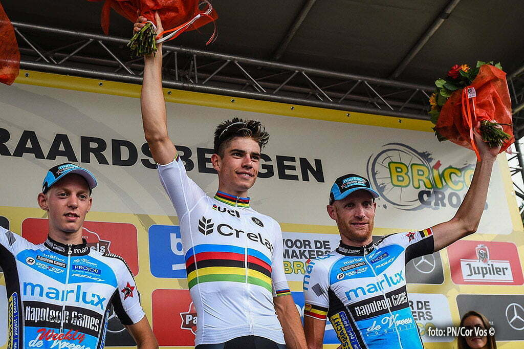 Geraadsbergen - Belgie - wielrennen - cycling - radsport - cyclisme - Michael Vanthourenhout - Wout Van Aert and Michael Vantornout pictured during the BRICO-Cross in Geraadsbergen- photoPN/ Cor Vos © 2016