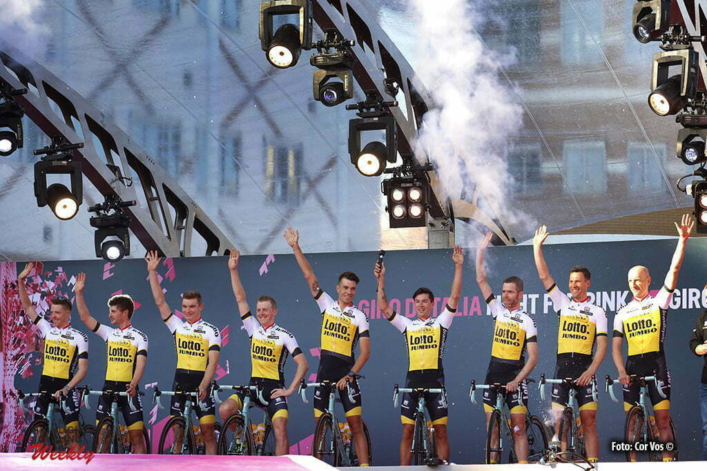 Apeldoorn - Netherlands - wielrennen - cycling - radsport - cyclisme - Lotto Nl - Jumbo pictured during teampresentation of th 99th Giro d'Italia 2016 in Apeldoorn. the Netherlands - photo Davy Rietbergen/Dion Kerckhoffs/Cor Vos © 2016