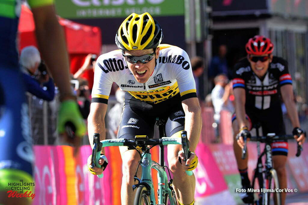 Corvara - Italy - wielrennen - cycling - radsport - cyclisme - arrival Steven Kruijswijk (Netherlands / Team LottoNL - Jumbo) - Georg Preidler (Austria / Team Giant - Alpecin) pictured during stage 14 of the 99th Giro d'Italia 2016 from Alpago to Corvara 210 km - foto Miwa IIjima/Cor Vos © 2016