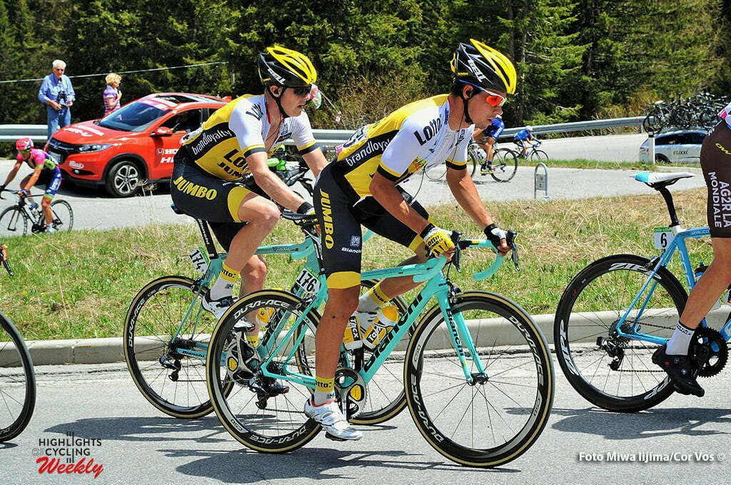 Corvara - Italy - wielrennen - cycling - radsport - cyclisme - Primoz Roglic (Slowenia / Team LottoNL - Jumbo) - Twan Castelijns (Netherlands / Team LottoNL - Jumbo) pictured during stage 14 of the 99th Giro d'Italia 2016 from Alpago to Corvara 210 km - foto Miwa IIjima/Cor Vos © 2016