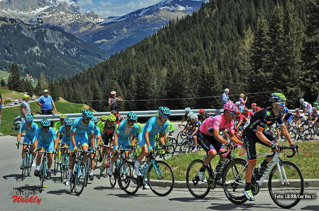Corvara - Italy - wielrennen - cycling - radsport - cyclisme - Valverde Belmonte Alejandro (Spain / Team Movistar) - Andrey Amador Bikkazakova (Kroatia / Team Movistar) pictured during stage 14 of the 99th Giro d'Italia 2016 from Alpago to Corvara 210 km - foto Miwa IIjima/Cor Vos © 2016