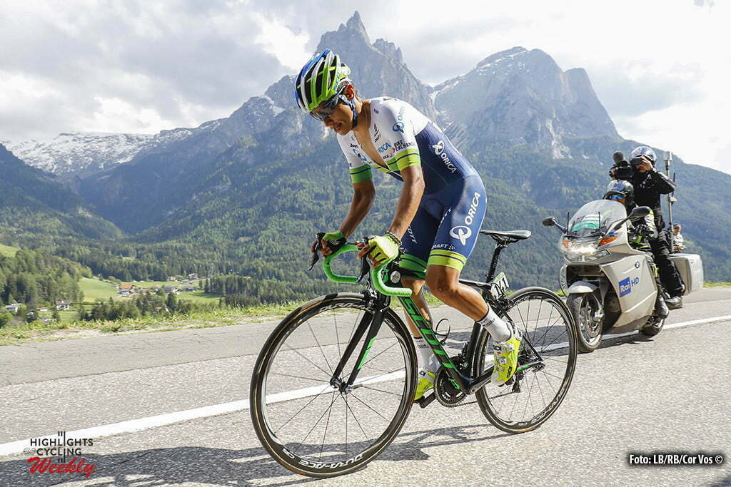 Alpe di Siusi - Italy - wielrennen - cycling - radsport - cyclisme - Johan Esteban Chaves (Orica GreenEdge) pictured during stage 14 of the 99th Giro d'Italia 2016 from Castelrotto to Alpe di Siusi a Mountain Time Trial individual - foto LB/RB/Cor Vos © 2016