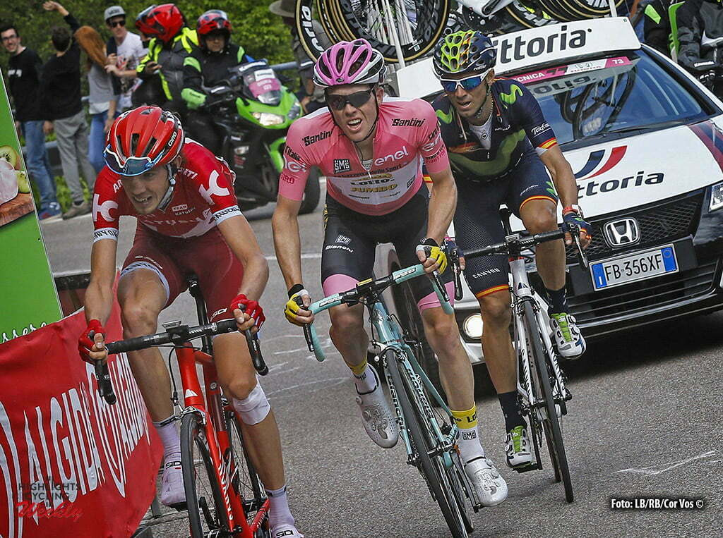 Andalo - Italy - wielrennen - cycling - radsport - cyclisme - Ilnur Zakarin (Katusha) - Steven Kruijswijk (LottoNL - Jumbo) - Alejandro Valverde (Movistar) pictured during stage 16 of the 99th Giro d'Italia 2016 from Bressanone - Andalo 132 km - foto LB/RB/Cor Vos © 2016