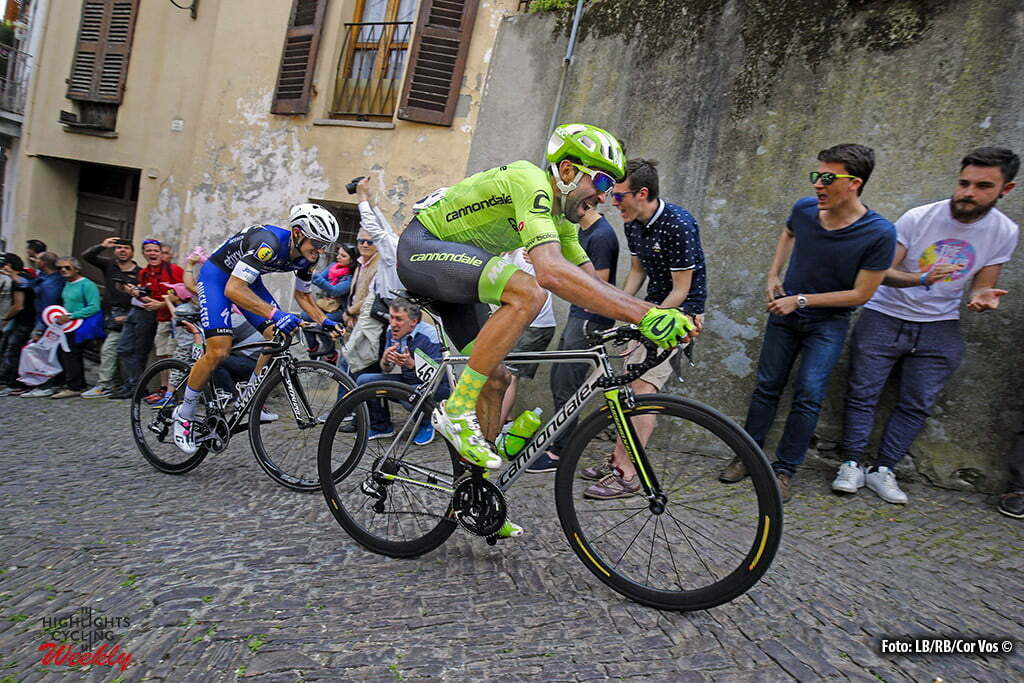 Pinerolo - Italy - wielrennen - cycling - radsport - cyclisme - Moreno Moser (Cannondale) - Gianluca Brambilla (Etixx - Quick Step) pictured during stage 18 of the 99th Giro d'Italia 2016 from Muggio to Pinerolo 244 km - foto LB/RB/Cor Vos © 2016