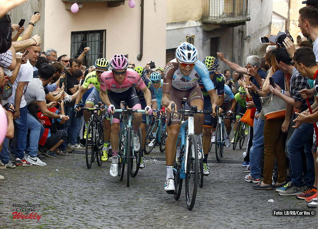 Pinerolo - Italy - wielrennen - cycling - radsport - cyclisme - Steven Kruijswijk (LottoNL - Jumbo) - Matteo Montaguti (AG2R - La Mondiale) pictured during stage 18 of the 99th Giro d'Italia 2016 from Muggio to Pinerolo 244 km - foto LB/RB/Cor Vos © 2016