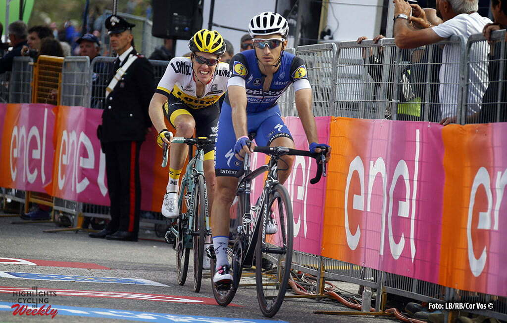 Sant'Anna di Vinadio - Italy - wielrennen - cycling - radsport - cyclisme - Gianluca Brambilla (Etixx - Quick Step) - Steven Kruijswijk (LottoNL - Jumbo) pictured during stage 20 of the 99th Giro d'Italia 2016 from Guillestre to Sant'Anna di Vinadio 134 km - foto LB/RB/Cor Vos © 2016