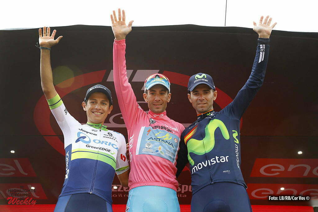 Torino - Italy - wielrennen - cycling - radsport - cyclisme - Vincenzo Nibali (Astana) - Johan Esteban Chaves (Orica GreenEDGE) - Alejandro Valverde (Movistar) pictured during stage 21 of the 99th Giro d'Italia 2016 from Cuneo to Torino 163 km - foto DB/RB/Cor Vos © 2016