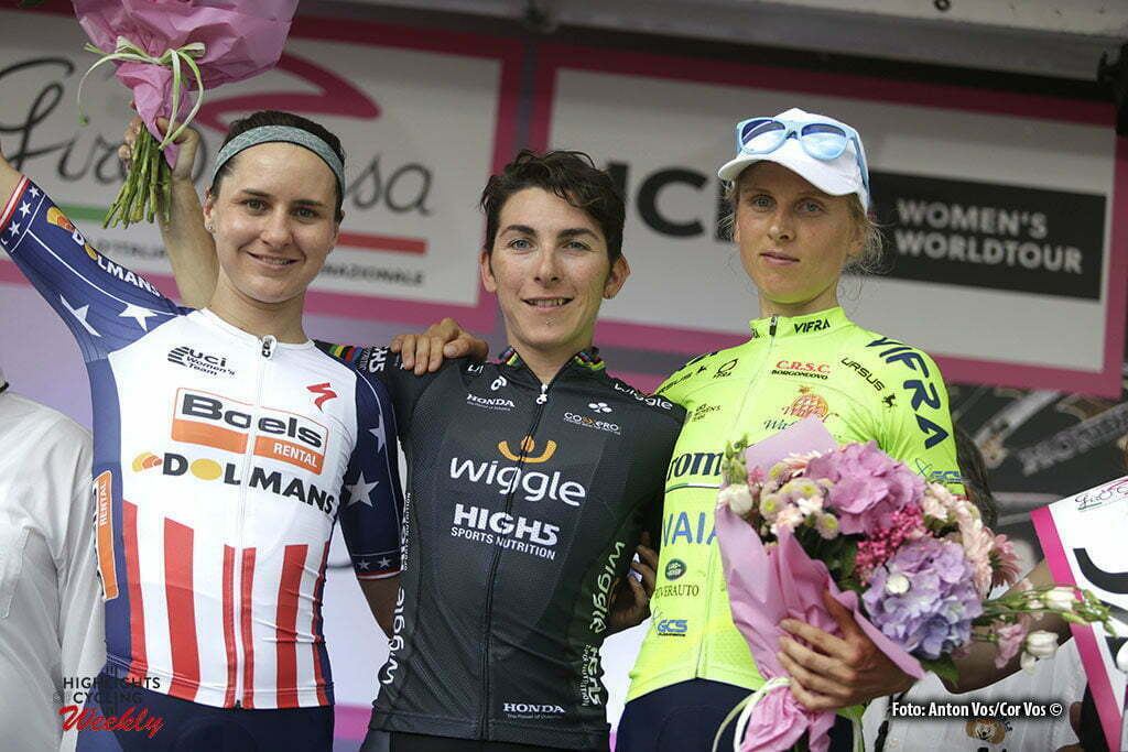 San Fior - Italy - wielrennen - cycling - radsport - cyclisme - Bronzini Giorgia (Italy / Wiggle High5) - Guarnier Megan (USA / Boels Dolmans Cycling Team) - Leleivyte Rasa (Lithuania / Aromitalia - Vaiano) pictured during stage 1 of the Giro d'Italia Internazionale Femminile 2016 (2.WWT) from Gaiarine to San Fior - photo Anton Vos/Cor Vos © 2016