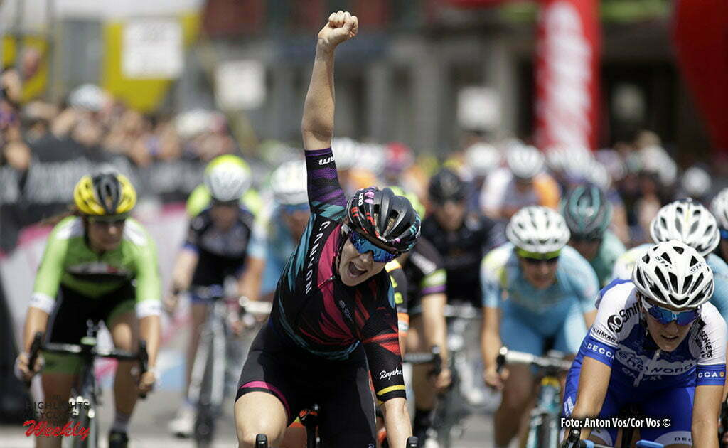 Lovere - Italy - wielrennen - cycling - radsport - cyclisme - Cromwell Tiffany (Australia / Canyon Sram Racing) Confalonieri Maria Giulia (Italy / Lensworld - Zannata) pictured during stage 4 of the Giro d'Italia Internazionale Femminile 2016 (2.WWT) from Costa Volpino to Lovere - photo Anton Vos/Cor Vos © 2016