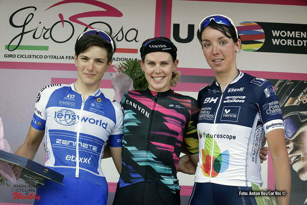 Lovere - Italy - wielrennen - cycling - radsport - cyclisme - Cromwell Tiffany (Australia / Canyon Sram Racing) - Confalonieri Maria Giulia (Italy / Lensworld - Zannata) - Biannic Aude (France / Poitou-Charentes.Futuroscope.86) pictured during stage 4 of the Giro d'Italia Internazionale Femminile 2016 (2.WWT) from Costa Volpino to Lovere - photo Anton Vos/Cor Vos © 2016