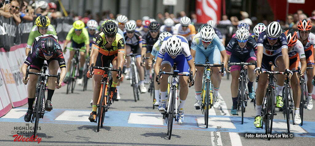 Lovere - Italy - wielrennen - cycling - radsport - cyclisme - Cromwell Tiffany (Australia / Canyon Sram Racing) Confalonieri Maria Giulia (Italy / Lensworld - Zannata) - Biannic Aude (France / Poitou-Charentes.Futuroscope.86) pictured during stage 4 of the Giro d'Italia Internazionale Femminile 2016 (2.WWT) from Costa Volpino to Lovere - photo Anton Vos/Cor Vos © 2016