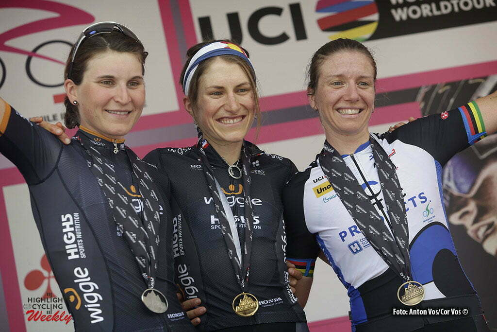 Tirano - Italy - wielrennen - cycling - radsport - cyclisme - Abbott Mara (USA / Wiggle High5) - Longo Borghini Elisa (Italy / Wiggle High5) - Guderzo Tatiana (Italy / Hitec Products) pictured during stage 5 of the Giro d'Italia Internazionale Femminile 2016 (2.WWT) from Grosio to Tirano - photo Anton Vos/Cor Vos © 2016