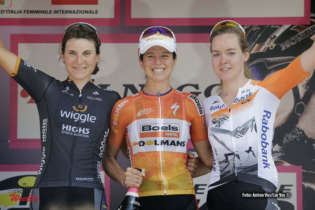 Varazze - Italy - wielrennen - cycling - radsport - cyclisme - Stevens Evelyn (USA / Boels Dolmans Cycling Team) - Van der Breggen Anna (Netherlands / Rabobank Liv Women Cycling Team) Longo Borghini Elisa (Italy / Wiggle High5) pictured during stage 7 of the Giro d'Italia Internazionale Femminile 2016 (2.WWT) from Albisola Superiore to Varazze - photo Anton Vos/Cor Vos © 2016