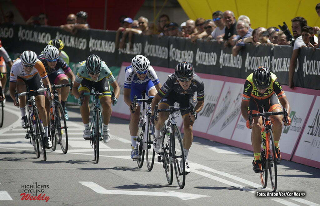 Legnano - Italy - wielrennen - cycling - radsport - cyclisme - Bronzini Giorgia (Italy / Wiggle High5) - Bastianelli Marta (Italy / Ale - Cipollini) - Confalonieri Maria Giulia (Italy / Lensworld - Zannata) pictured during stage 8 of the Giro d'Italia Internazionale Femminile 2016 (2.WWT) from Rescaldina to Legnano - photo Anton Vos/Cor Vos © 2016