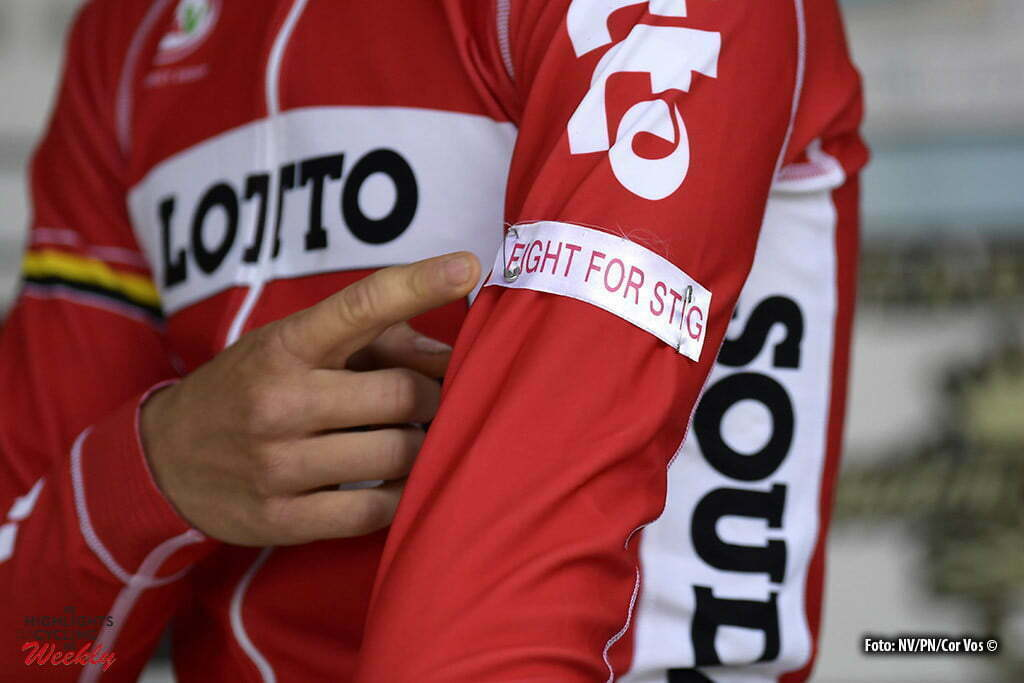 "Gullegem - Belgium - wielrennen - cycling - radsport - cyclisme - Tosh Van Der Sande (Belgium / Team Lotto Soudal) shows the "" Fight for Stig "" logo on his arm during the 72th Gullegem Koerse cycling race with start and finish in Gullegem, Belgium - photo NV/PN/Cor Vos © 2016"