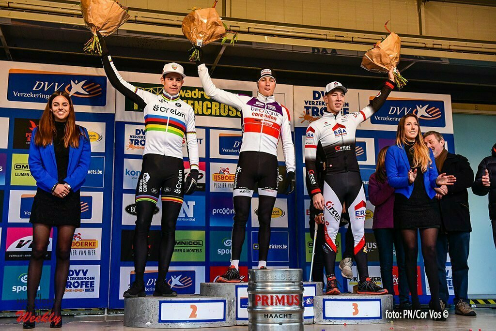 Hamme - Belgium - wielrennen - cycling - radsport - cyclisme - Wout Van Aert , Mathieu van der Poel and Laurens Sweeckpictured during the Flandirencross, the third stage of the DVV verzekeringen trofee in Hamme, Belgium, on sunday 27/11/2016 - photo PN/Cor Vos © 2016