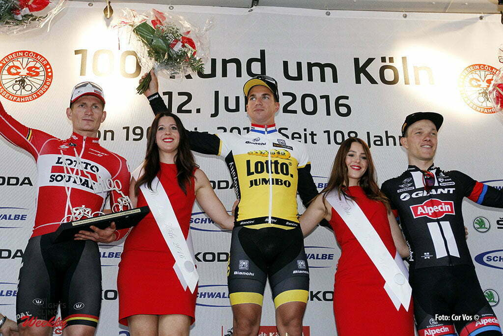 Koln - Germany - wielrennen - cycling - radsport - cyclisme - Dylan Groenewegen (Netherlands / Team LottoNL - Jumbo) - Andre Greipel (Germany / Team Lotto Soudal) - Nikias Arndt (Germany / Team Giant - Alpecin)pictured during Rund um Koln - photo HR/Cor Vos © 2016