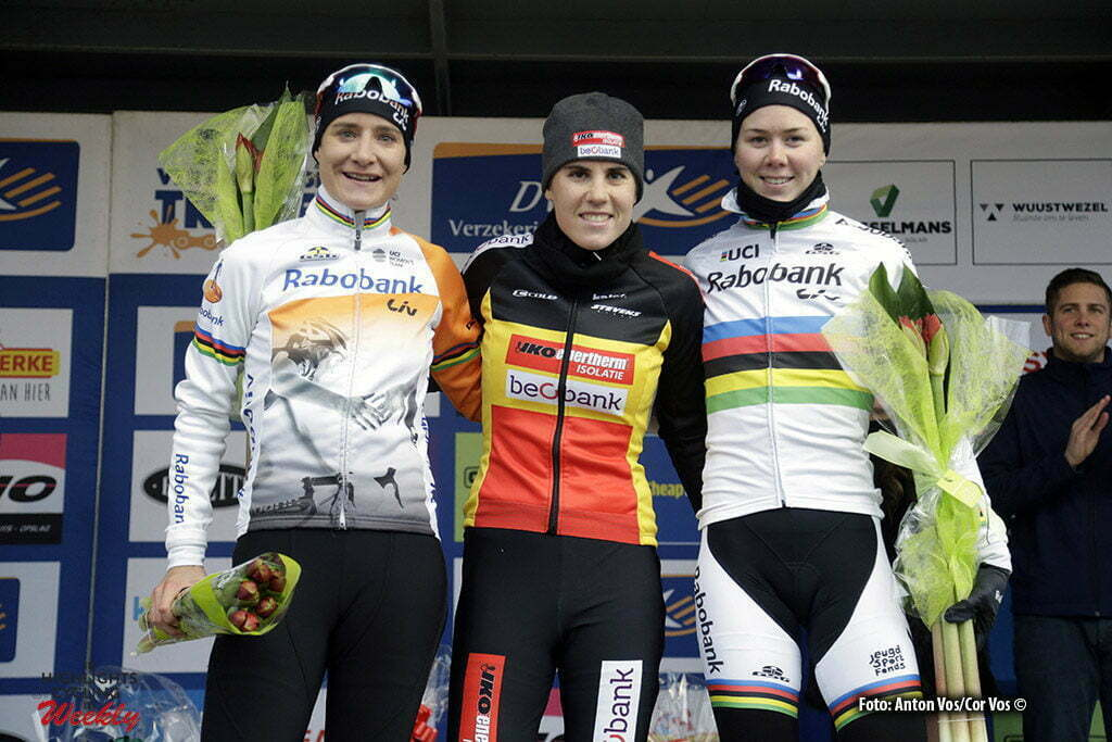 Loenhout - Belgium - wielrennen - cycling - radsport - cyclisme - Sanne Cant - Vos Marianne (Netherlands / Rabobank Liv Women Cycling Team) - De Jong Thalita (Netherlands / Rabobank Liv Women Cycling Team) pictured during the women's elite DVV Verzekeringen Trofee, cyclocross race, the Azencross in Loenhout - photo Anton Vos//Cor Vos © 2016