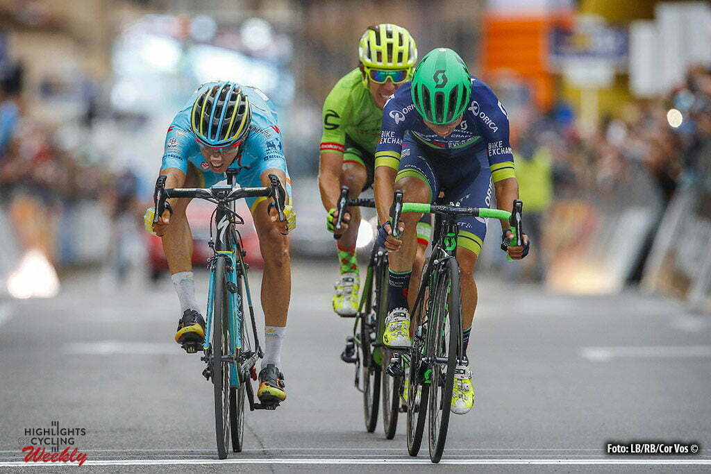 Bergamo - Italy - wielrennen - cycling - radsport - cyclisme - Johan Esteban Chaves (Orica - BikeExchange) - Diego Rosa (Italie / Team Astana) - Rigoberto Uran Uran (Cannondale Drapac Pro Cycling Team) pictured during Il Lombardia 2016 - 110th edition - Como - Bergamo 241 km - 01/10/2016- photo LB/RB/Cor Vos © 2016
