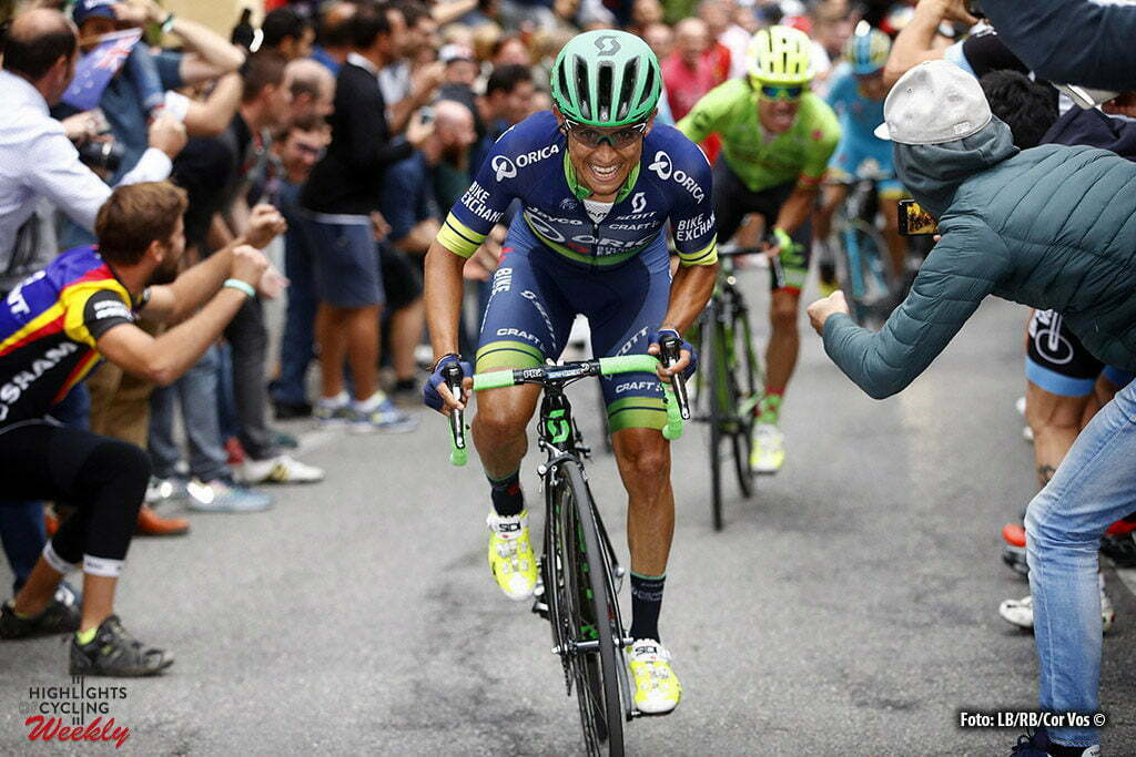 Bergamo - Italy - wielrennen - cycling - radsport - cyclisme - Johan Esteban Chaves (Orica - BikeExchange) - Rigoberto Uran Uran (Cannondale Drapac Pro Cycling Team) pictured during Il Lombardia 2016 - 110th edition - Como - Bergamo 241 km - 01/10/2016- photo LB/RB/Cor Vos © 2016