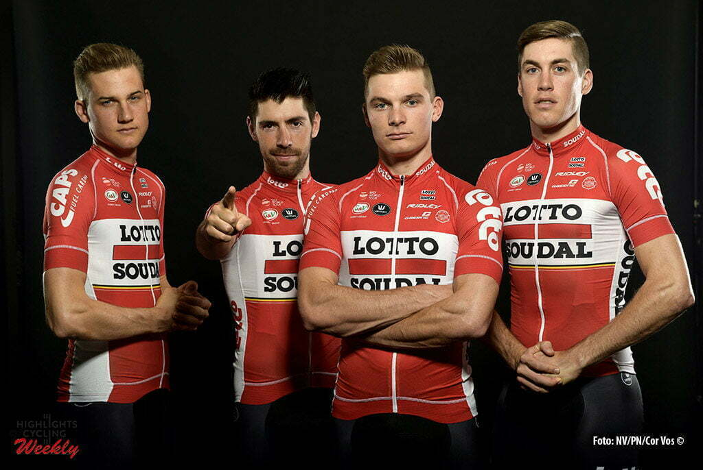 Palma de Mallorca - Spain - wielrennen - cycling - radsport - cyclisme - Tim Wellens - Thomas de Gendt - Moreno Hofland and Jelle Wallays pictured during Lotto - Soudal team photoshoot 2017- photo NV/PN/Cor Vos © 2016