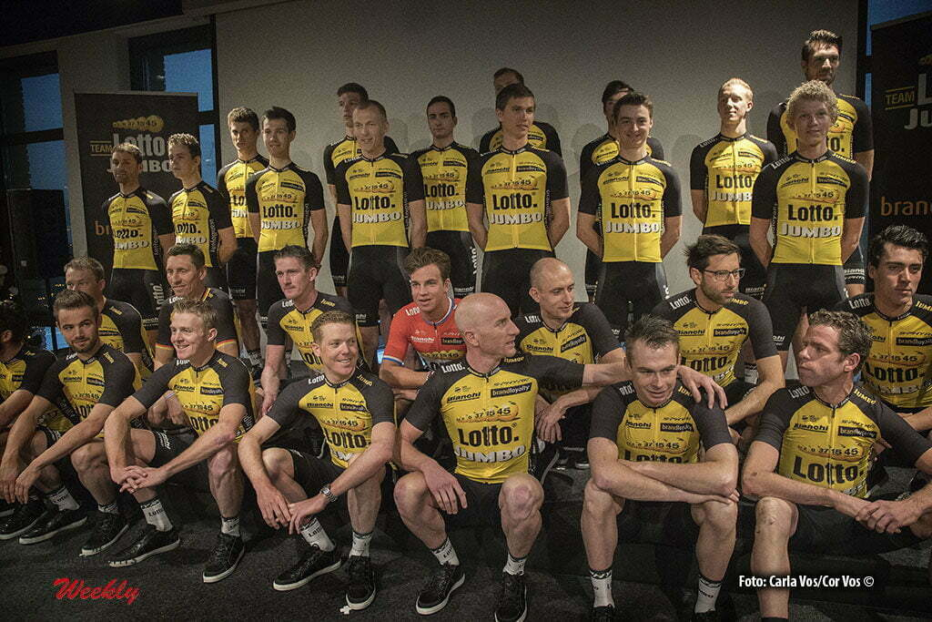Rijswijk - Netherlands - wielrennen - cycling - cyclisme - radsport - Team 2017 pictured during teampresentation LottoNL-Jumbo 2017 in Rijswijk, the Netherlands 22-12-2016 - Photo: Carla Vos/Cor Vos © 2016