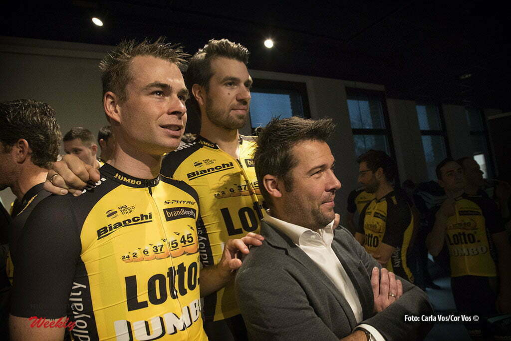 Rijswijk - Netherlands - wielrennen - cycling - cyclisme - radsport - Bertjan Lindeman - Martijn Keizer and Addy Engels pictured during teampresentation LottoNL-Jumbo 2017 in Rijswijk, the Netherlands 22-12-2016 - Photo: Carla Vos/Cor Vos © 2016