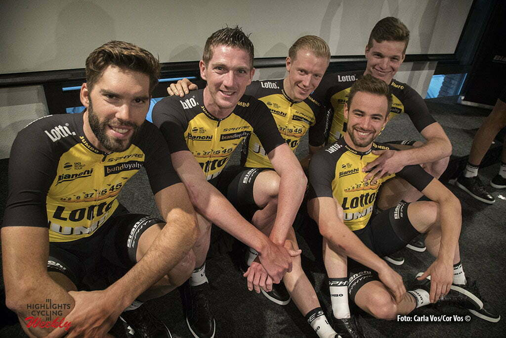 Rijswijk - Netherlands - wielrennen - cycling - cyclisme - radsport - Maarten Wynants - Jurgen van de Broeck Floris de Tier - Victor Campenaerts and Gijs van Hoecke pictured during teampresentation LottoNL-Jumbo 2017 in Rijswijk, the Netherlands 22-12-2016 - Photo: Carla Vos/Cor Vos © 2016
