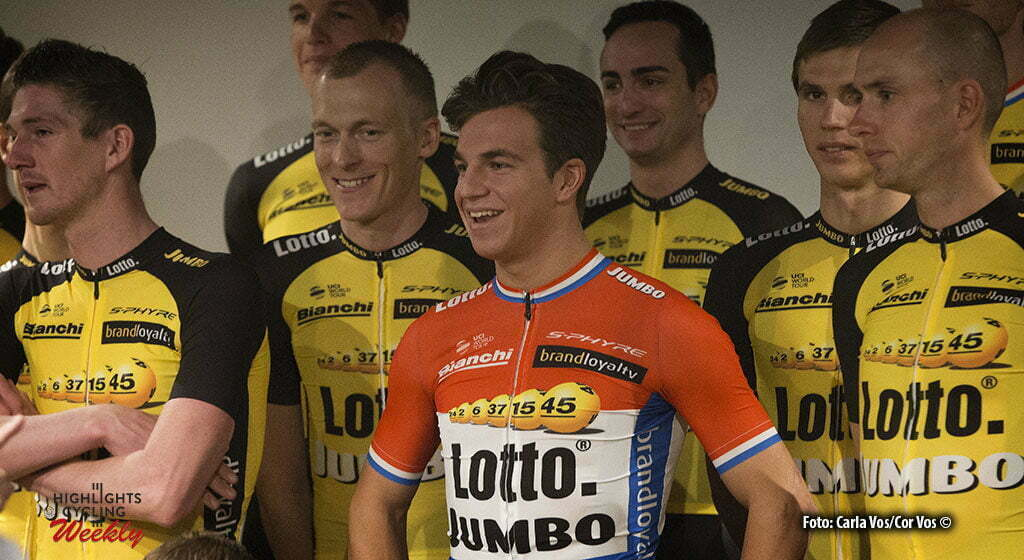 Rijswijk - Netherlands - wielrennen - cycling - cyclisme - radsport -Jurgen van den Broeck - Robert Gesink - Dylan Groenewegen - Stef Clement pictured during teampresentation LottoNL-Jumbo 2017 in Rijswijk, the Netherlands 22-12-2016 - Photo: Carla Vos/Cor Vos © 2016