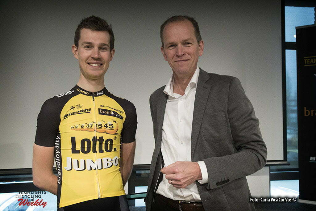 Rijswijk - Netherlands - wielrennen - cycling - cyclisme - radsport - Daan Olivier en Richard Plugge pictured during teampresentation LottoNL-Jumbo 2017 in Rijswijk, the Netherlands 22-12-2016 - Photo: Carla Vos/Cor Vos © 2016