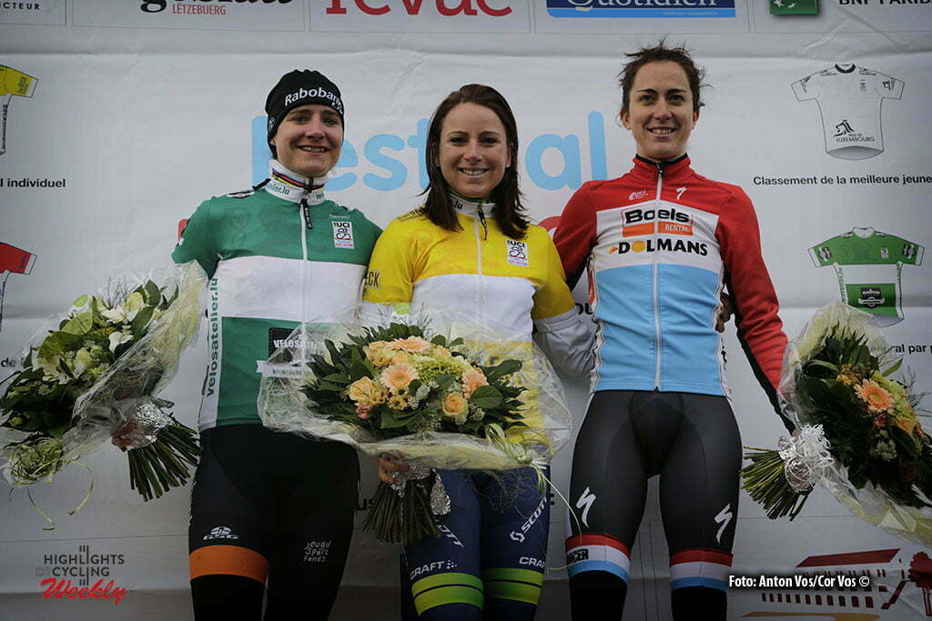 Cessange - Luxembourg - wielrennen - cycling - radsport - cyclisme - Van Vleuten Annemiek (Netherlands / Orica AIS) Vos Marianne (Netherlands / Rabobank Liv Women Cycling Team) - Majerus Christine (Luxembourg / Boels Dolmans Cycling Team) pictured during Festival Elsy Jacobs 2016 - prologue - womens cyclingrace in Cessange - photo Anton Vos/Cor Vos © 2016