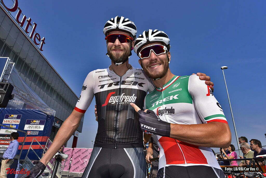 Torino - Italia - wielrennen - cycling - radsport - cyclisme - Ryder Hesjedal (Trek - Segafredo) - Giacomo Nizzolo (Trek - Segafredo) pictured during Milano - Torino 2016 - 97th edition - Sesto Ulteriano - Torino Basilica di Superga 186 km - 28/09/2016 - photo Cor Vos © 2016
