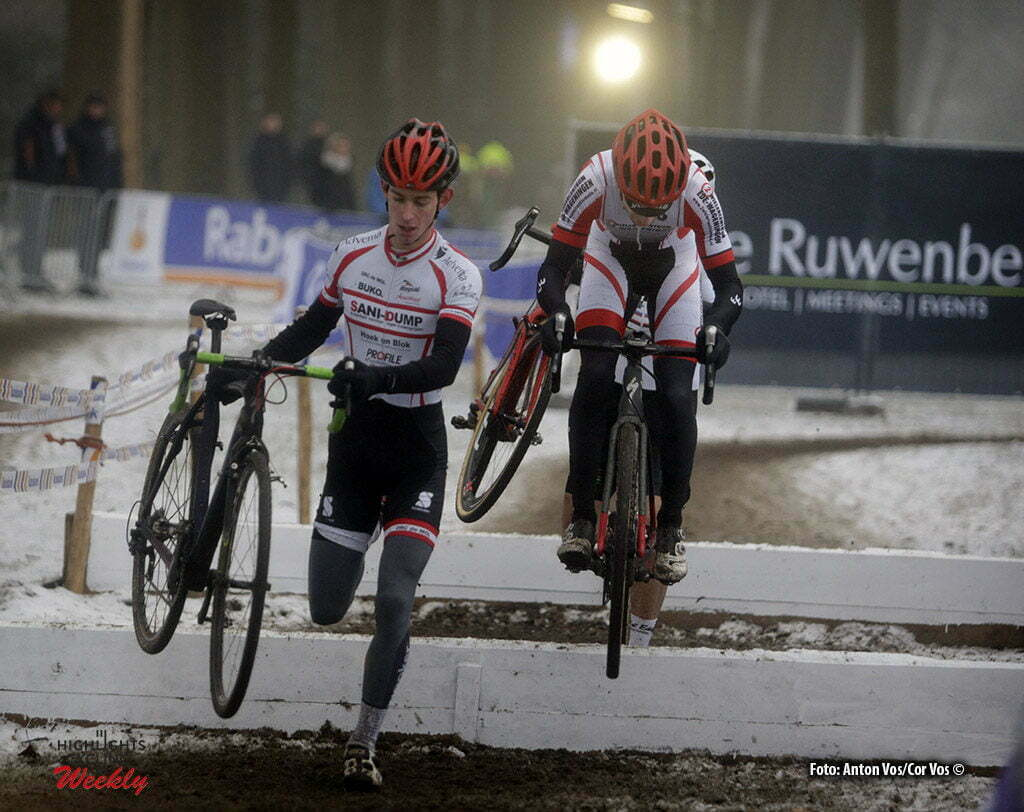 Michielsgestel - Netherlands - wielrennen - cycling - radsport - cyclisme - Kees van Noppen - Koen Weijers pictured during Dutch Championships Cyclocross - amateurs-sportklasse NK Veldrijden in Sint Michielsgestel - photo Anton Vos/Cor Vos © 2017