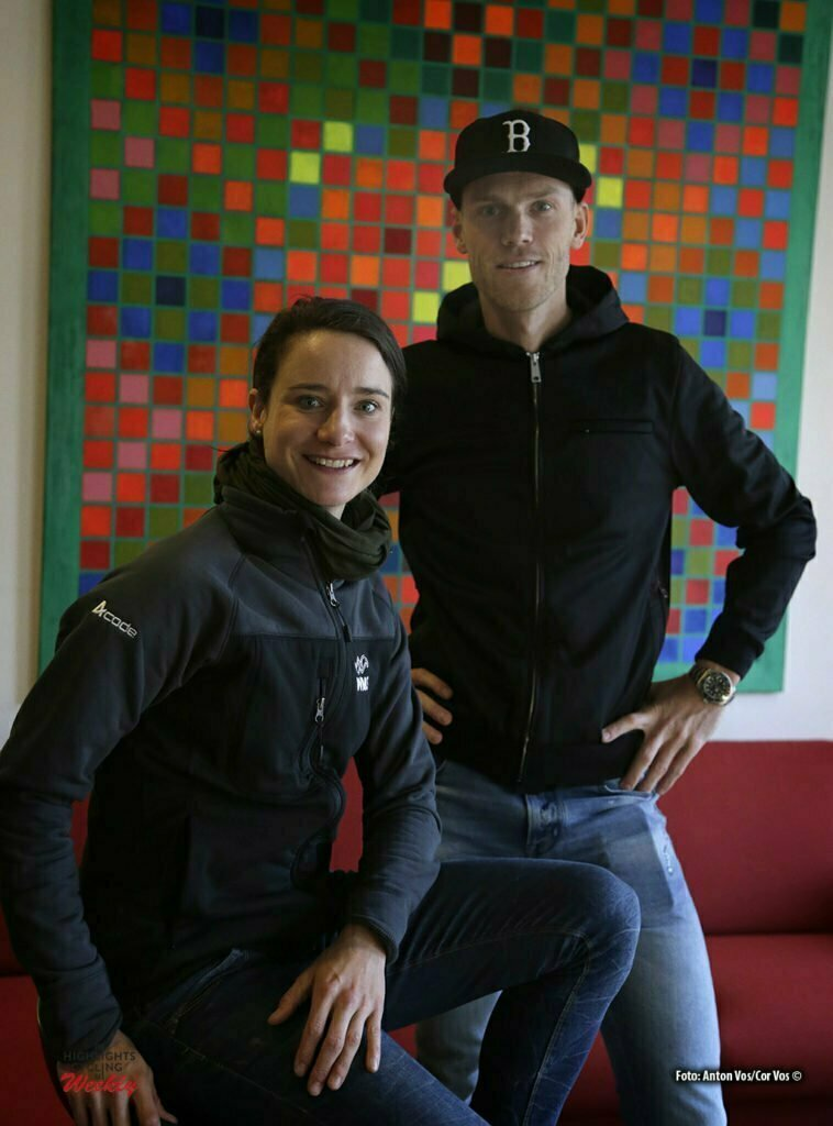 Sint - Michelsgestel - Netherlands - wielrennen - cycling - radsport - cyclisme - Marianne Vos (Team WM3 Cycling) and Lars Boom (Netherlands / Team LottoNL - Jumbo) pictured during presseconference prior of the Dutch National Championships Cyclocross on Sunday Jan 8 2017 in Sint Michelsgestel - photo Cor Vos © 2017